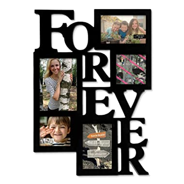 Adeco 5-Opening Decorative Wood  Forever  Collage Wall Hanging Picture Frame, One 5 by 7-Inch/ Two 4 by 6-Inch/ Two 4 by 4-Inch, Black
