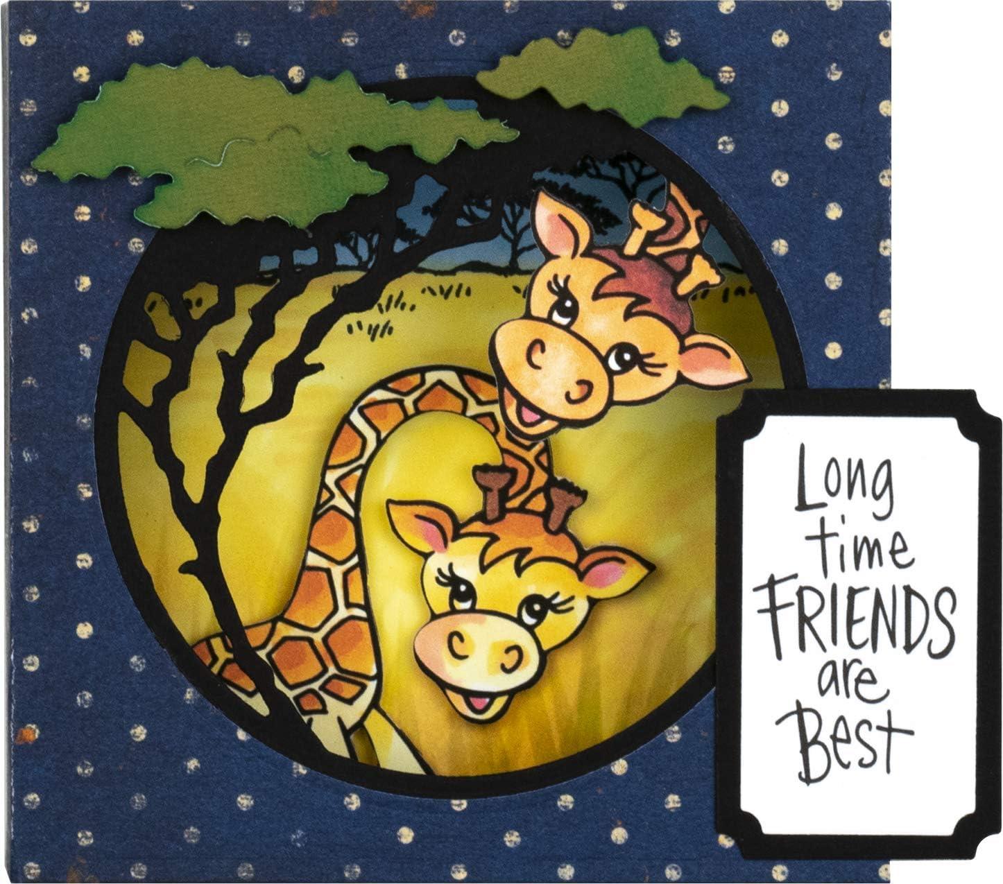 Stampendous Cling Stamp /& Die Set-Giraffe Silver