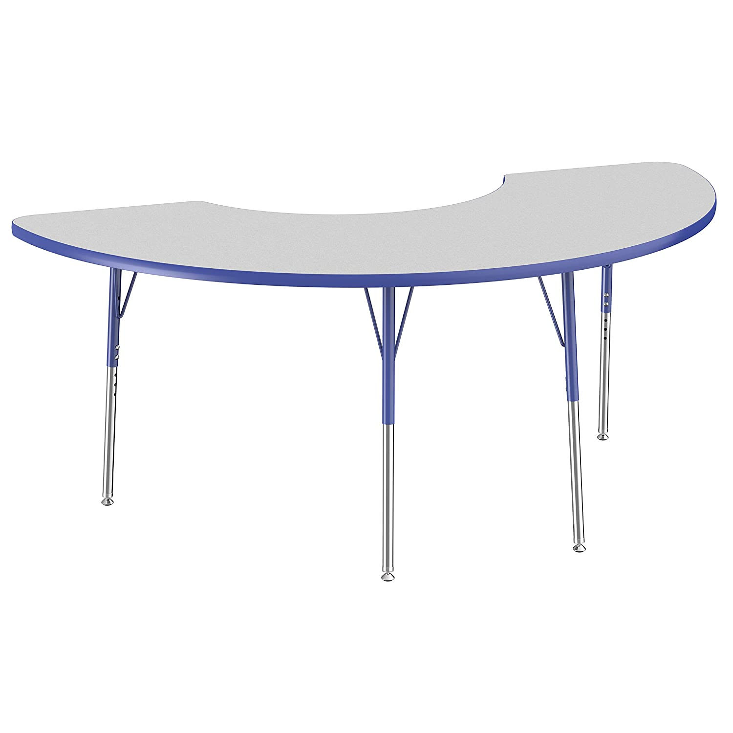 FDP Half Moon Activity School and Office Table (36 x 72 inch), Standard Legs with Swivel Glides for Collaborative Seating Environments, Adjustable Height 19-30 inches - Gray Top and Blue Edge