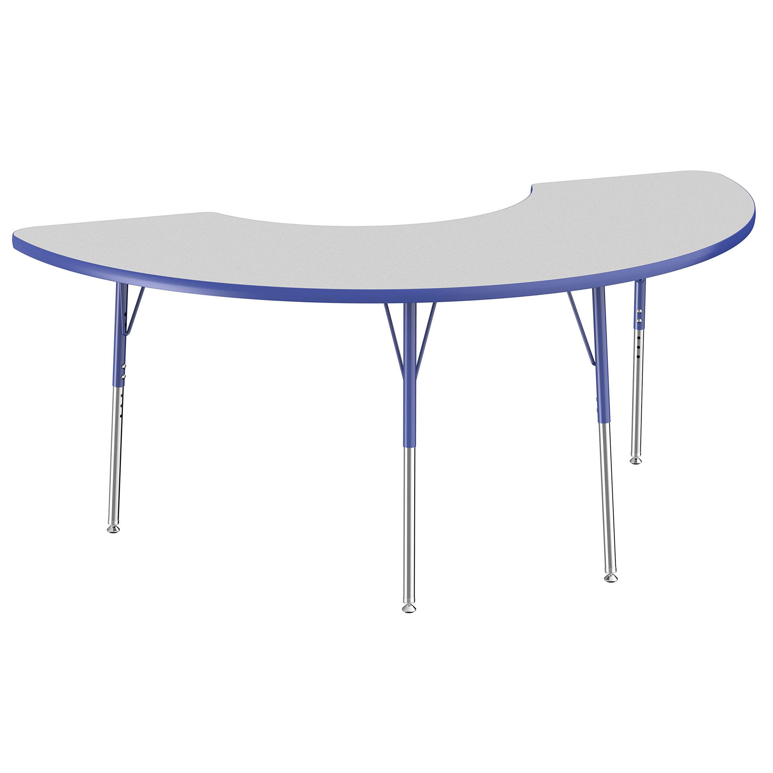 FDP Half Moon Activity School and Office Table (36 x 72 inch), Standard Legs with Swivel Glides for Collaborative Seating Environments, Adjustable Height 19-30 inches - Gray Top and Blue Edge by Factory Direct Partners