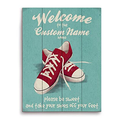 418e49da56552 Please Be Sweet And Take Your Shoes Off Your Feet Red Sneakers on Green  Customizable Wall Art Print