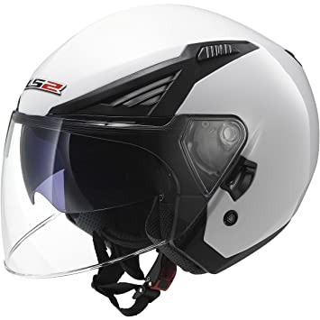 LS2 Bishop Solid Open Face Helmet with Sunshield (White, Medium)