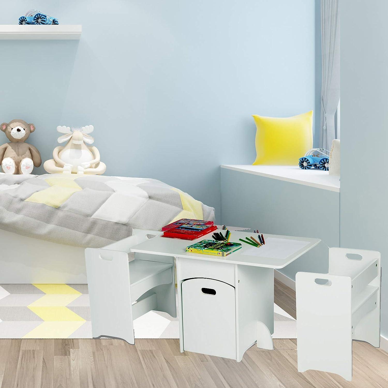 eSituro SCTS0007 Ensemble de table et chaises pour enfant Set 1 table et 2 chaises en MDF robuste avec tiroir /à roulettes Blanc
