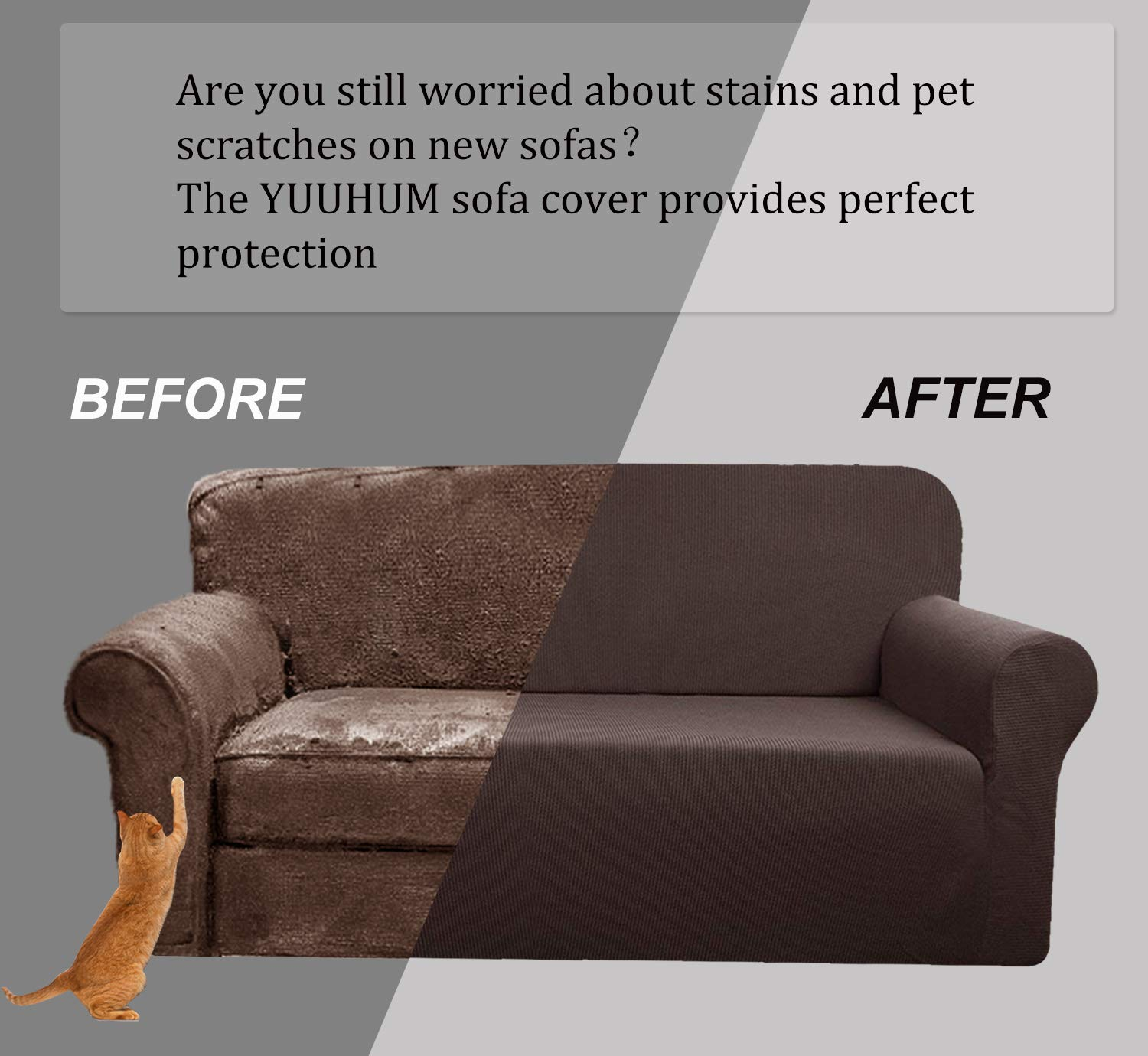 Best Sofa Upholstery For Pets: YUUHUM Stripes Couch Covers 2-Piece Super Stretch Sofa