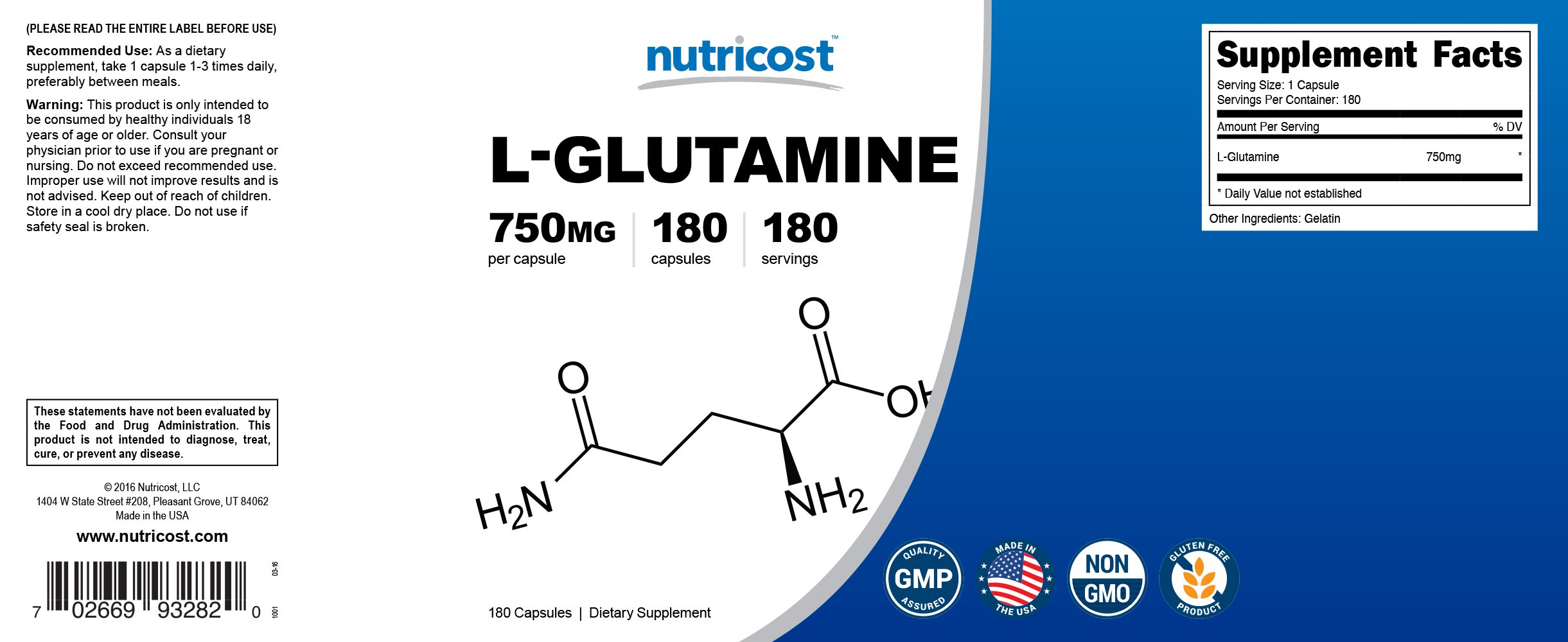 Nutricost L-Glutamine 750mg; 180 Capsules by Nutricost (Image #6)