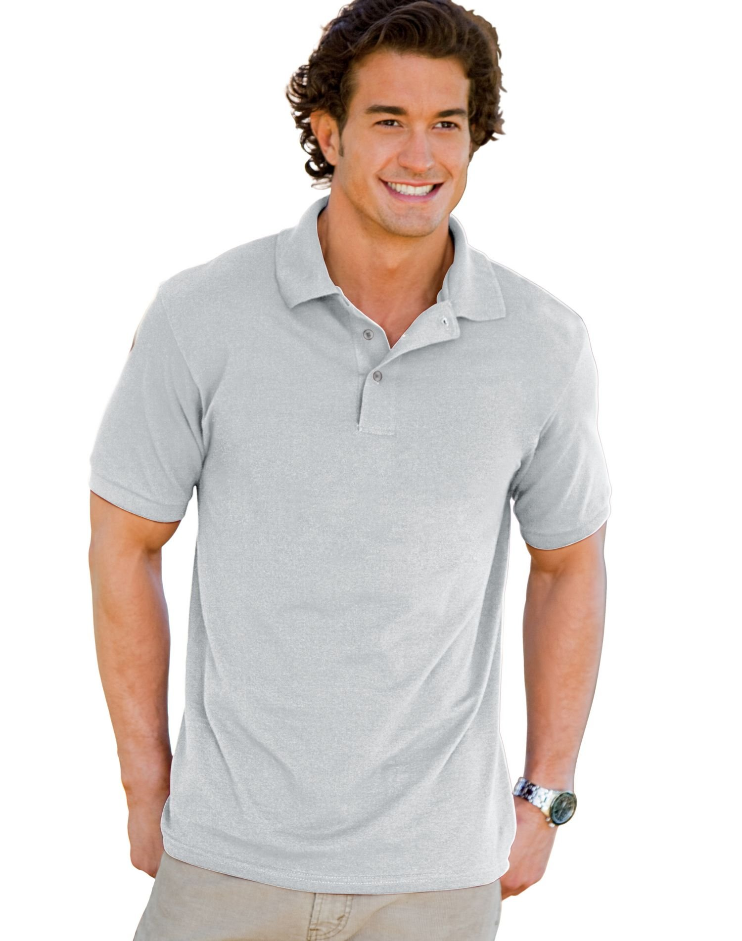 Men's 7 oz Hanes STEDMAN Cotton Pique Polo (XL ,color ash )