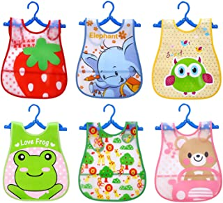 6pcs Assorted Styles Cute Cartoon Waterproof EVA Baby Feeding Clothing Infant Smock Apron Bibs for 1-4 Years Old Baby