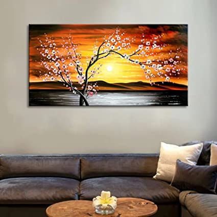 FLY SPRAY 1-Piece Hand Painted Orange Oil Paintings Canvas Wall Art  Stretched Framed Ready Hang Tree Flowers Landscape River Sunset Modern  Abstract ...