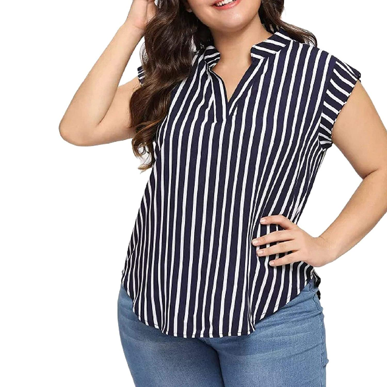 Plus Size T Shirt Casual Womens V Neck Sleeveless Stripe Print
