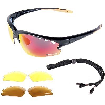 Rapid Eyewear  Expert  Noir LUNETTES DE SOLEIL SPORT POLARISÉE avec  interchangeables pour la course à pied, navigation à voile, conduite,  escalade, ski. f3e8e544b4bb