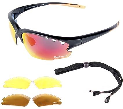 c4fcf57fc21 Rapid Eyewear Expert Black SPORTS SUNGLASSES for Men   Women With  Interchangeable Antiglare Mirror