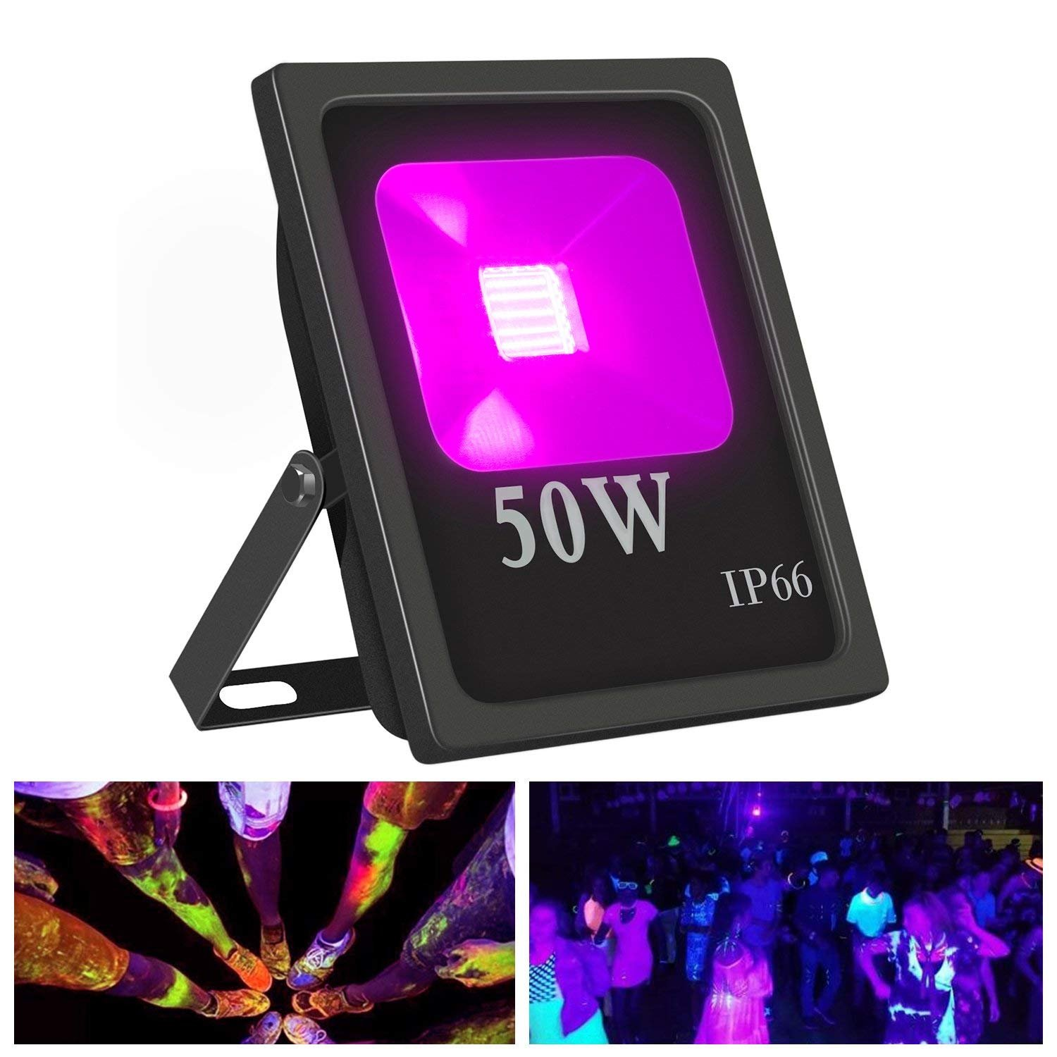Exulight UV LED Flood Light, 20W High Power UV Ultraviolet Black Lights 85V-265V AC IP66 Waterproof for Parties,Curing, Glue, Blacklight, Fishing, Aquarium with US Plug (20W)