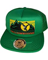 Yellowstone Flat Brim Low Profile Green Mesh Trucker Hat Cap Snapback