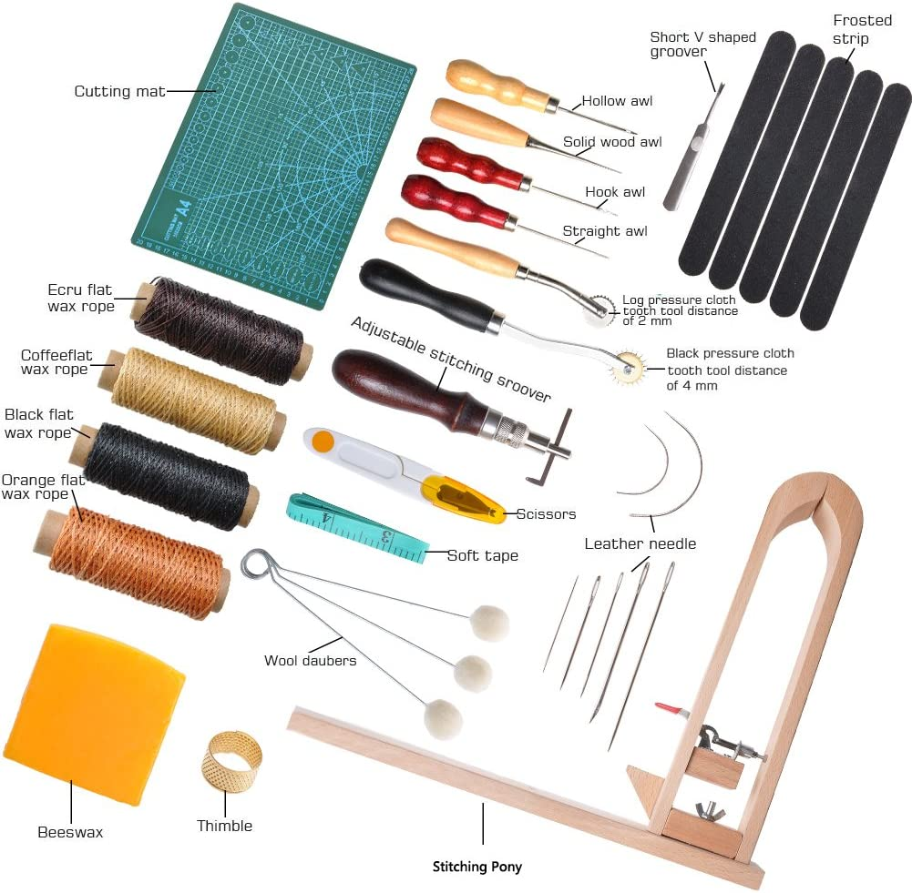 LAMPTOP 33 Pieces DIY Leather Craft Tools Hand Stitching Tool Set with Stitching Pony,Matting Cut Basic Hand Stitching Sewing Tools for DIY Leather Craft Man Groover Awl Waxed Thimble Thread