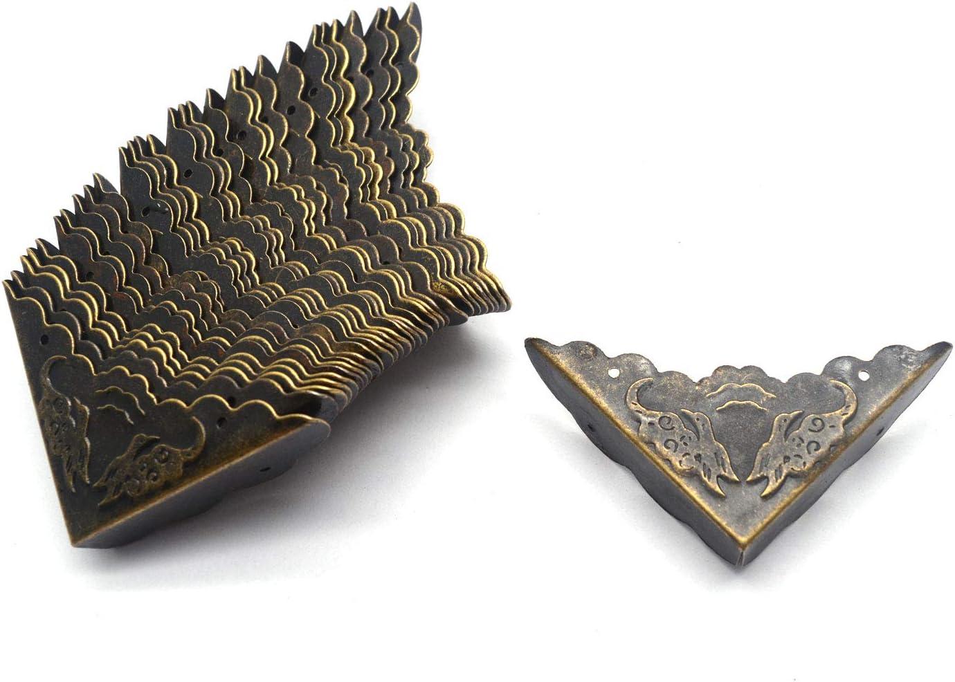 "Tulead 30PCS Box Corner Protectors Decorative Corner Antique Protector Bronze Corner Protector 1.7""x1.7""x0.4"" with Mounting Screws"