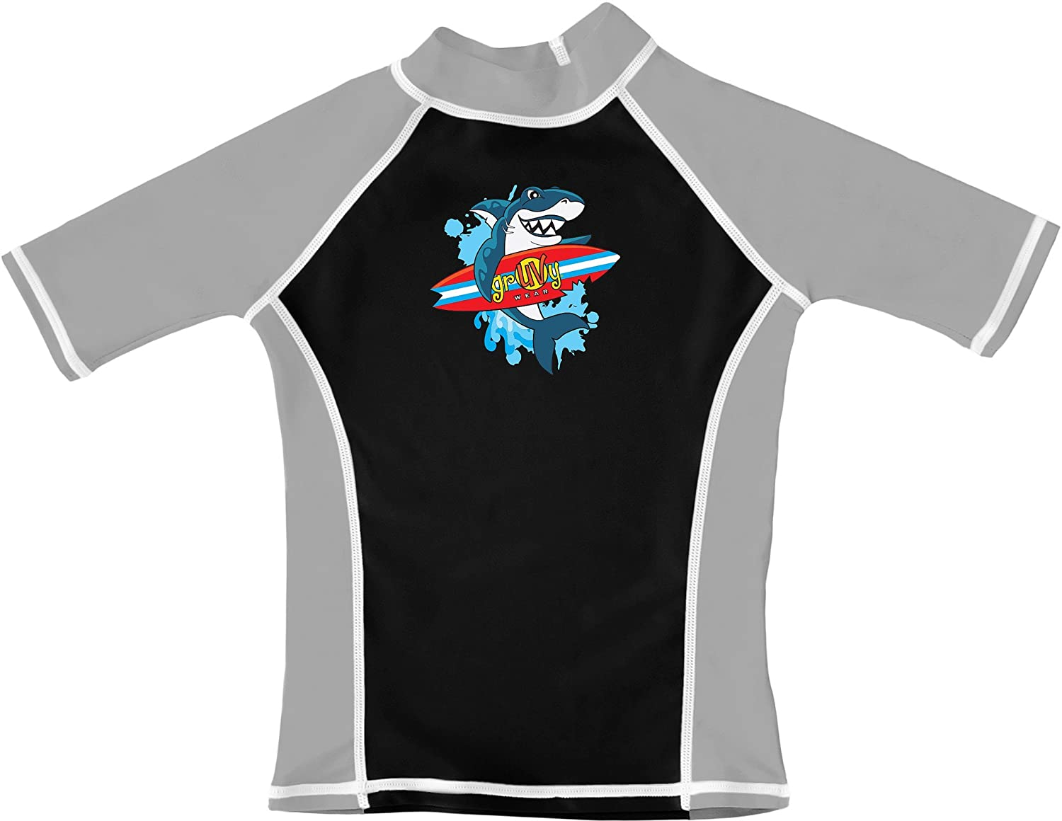 Surfing Shark Short Sleeve Rash Guard UV Swim Shirt grUVywear Boys UPF 50