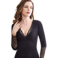 Flygo Womens Thermal Fleece Lined Cotton Underwear Lace Long Sleeve V-Neck Top