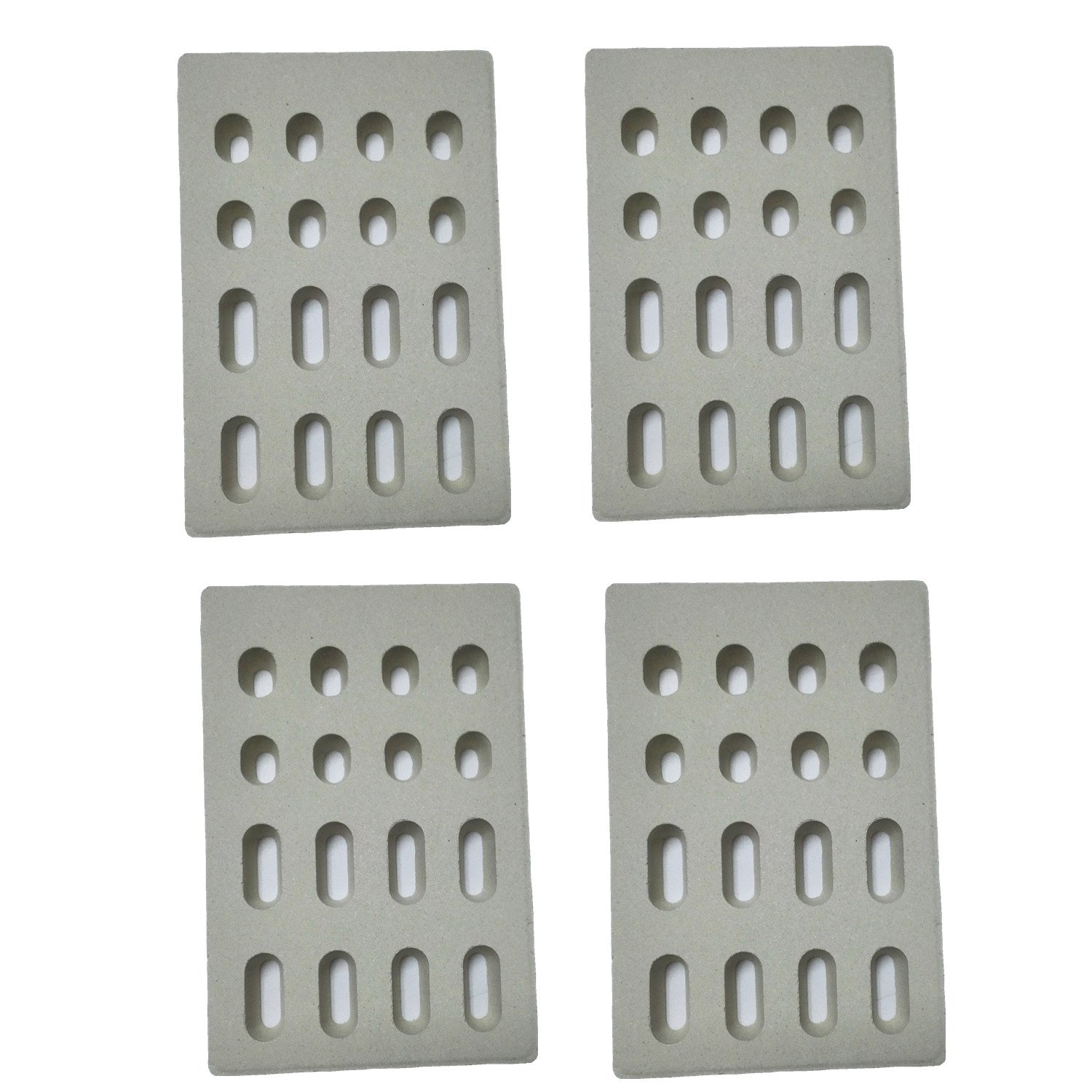Broilmann 4-pack Universal Replacement Heat Plate Flame Tamer for Grand Turbo Grills, Ceramic Brick Flame Tamer(Dimensions: 7 1/16 L X 4 3/4 W X 1/2 H) by Broilmann