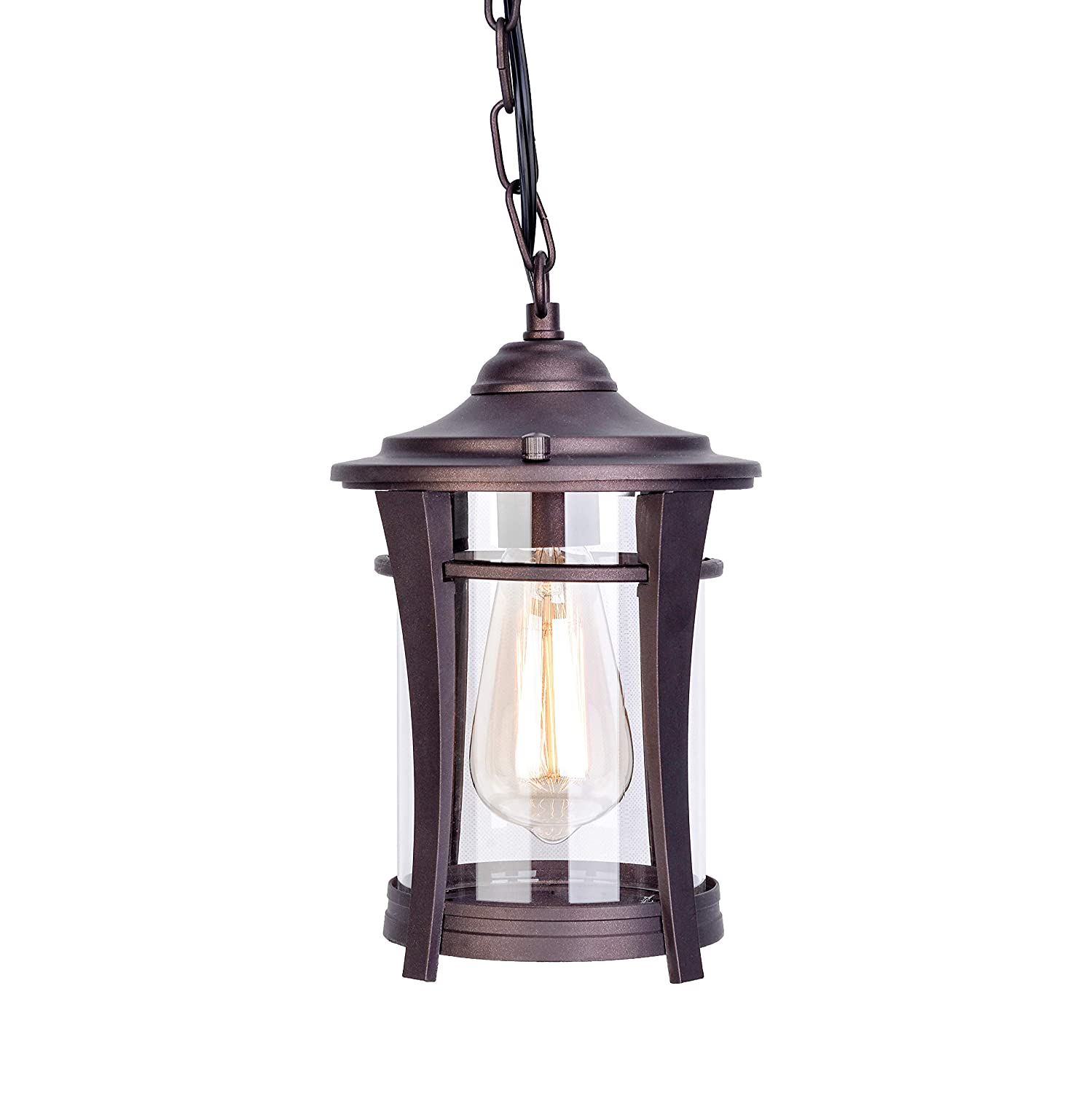 Stepeak tranditional exterior outdoor ceiling pendant light bronze finished nightstand gazebo chandelier with clear glass for porch island