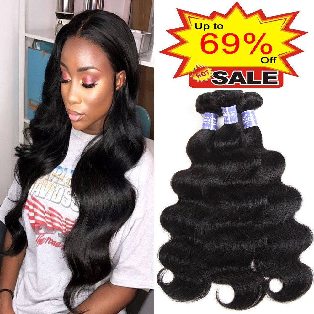 Sayas Hair 8A Grade (8 10 12 Inch) 3 Bundles of Brazilian Body Wave Hair Bundles Weave Human Remy Virgin Hair Natural Black Color 300g total