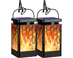 OKEER Solar Lanterns Outdoor Lights, 2 Pack Flickering Flame Garden Hanging Solar Lights Waterproof LED Decorative Outdoor Um