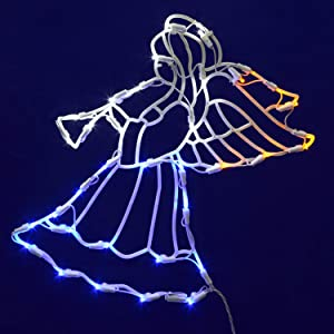 """Vickerman Lighted LED Angel with Horn Christmas Window Silhouette Decoration, 17"""""""