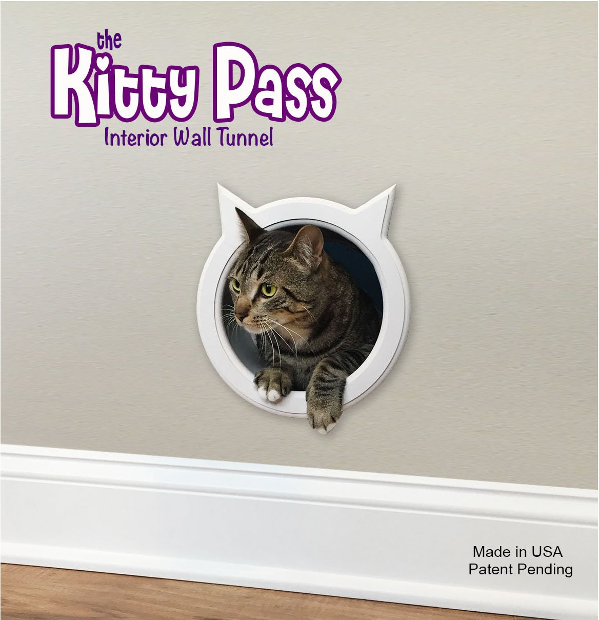 The Kitty Pass Wall entry cat door, Cat Door Tunnel, Cat Wall door Pet Door Hidden Litter Box.n by The Kitty Pass