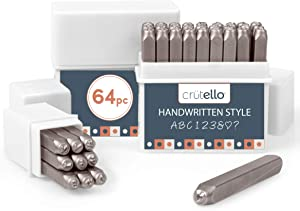 Metal Stamping Kit, 64 Piece Punch Set - Handwritten Style Font Number & Letter Stamps for Metal, Jewelry, Wood, Leather & More