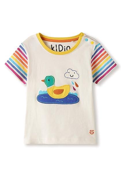 Camiseta Blanca de algodón orgánico - Aplique de Pato - Niña Niño (2-4