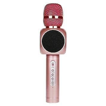 Tragbarer Karaoke Spieler 2600 mAh Drahtloses Mikrofon mit Bluetooth Lautsprecher für die Aufnahme von Gesang,Sprache,Party,P