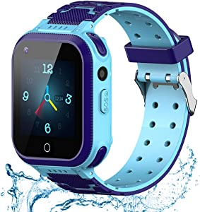Kids Smart Watch, 4G WiFi GPS LBS Tracker SOS Emergency Call Video Chat Children Smartwatches, IP67 Waterproof Phone Watch for Boys Girls, Compatible with Android/iPhone iOS (Dark Blue + Light Blue)