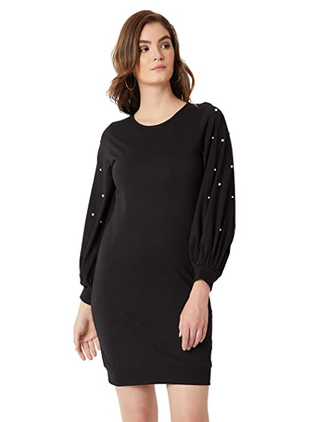 c69cc2f2b08 Miss Chase Women s Black Balloon Sleeve Pearl Shift Dress(MCAW18D11-76-62-