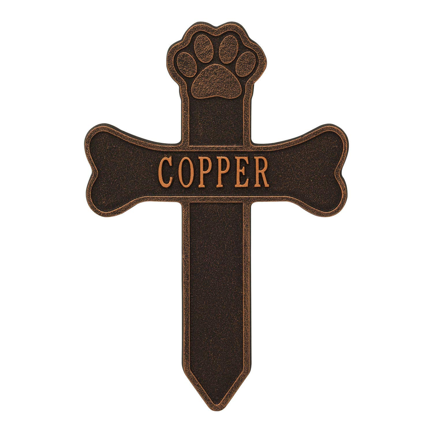 Whitehall Dog Paw and Bone Personalized Pet Memorial Cross Yard Sign - Remembrance Grave Marker and Garden Stake - Oil Bronze