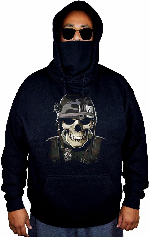 Mens Military Army Skull Black Mask Hoodie Sweater Black