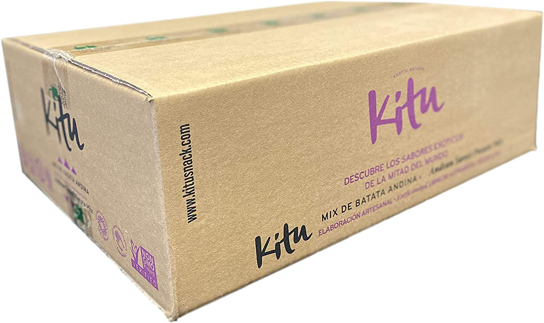 Mix de batata andina 50g Kitu Snack Sin sal a/ñadida Caja de 24 unidades Chips de vegetales saludables sin al/érgenos.