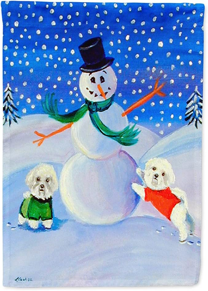 Caroline's Treasures 7145GF Snowman with a Bichon Frise Flag Garden Size, Small, Multicolor