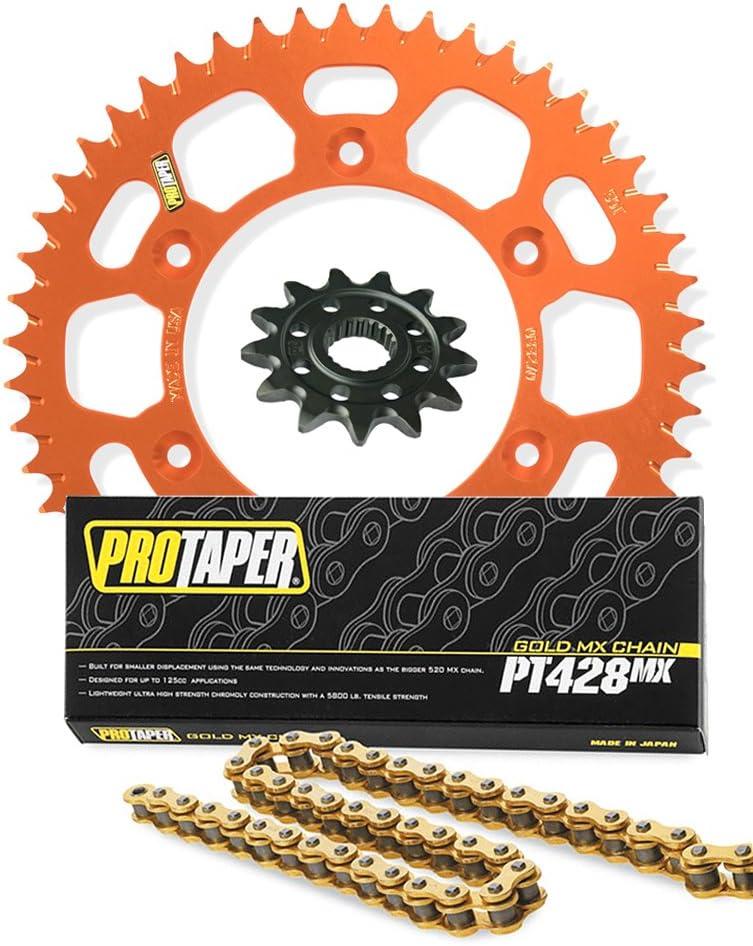 14//49 ORANGE compatible with KTM 85 SX Pro Taper Front /& Rear Sprockets /& PT428MX Chain Kit