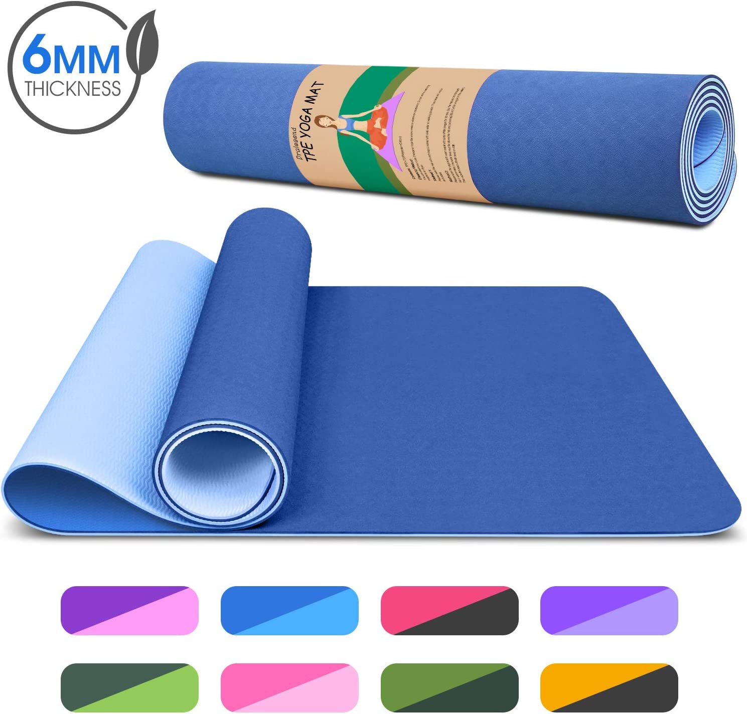 Anti Sweat High Density Non-Slip Workout Mat for Yoga Classic 1//4 Inch Pilates /& Exercises Dralegend Yoga Mat Exercise Fitness Mat Tear Proof