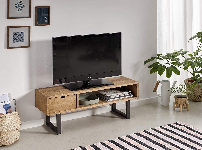 Mesa televisión, Mueble TV salón diseño Industrial-Vintage, cajón y Estante, Madera Maciza Natural, Patas Metálicas. Medidas; 100 cm x 40 cm x 30 cm…: Amazon.es: Electrónica