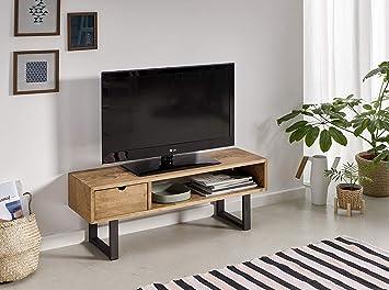 Mesa televisión, Mueble TV salón diseño Industrial-Vintage, cajón ...