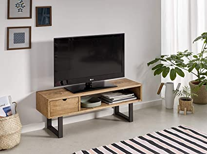 Mesa Televisión Mueble Tv Salón Diseño Industrial Vintage Cajón Y Estante Madera Maciza Natural Patas Metálicas Medidas 100 Cm X 40 Cm X 30 Cm Amazon Es Electrónica