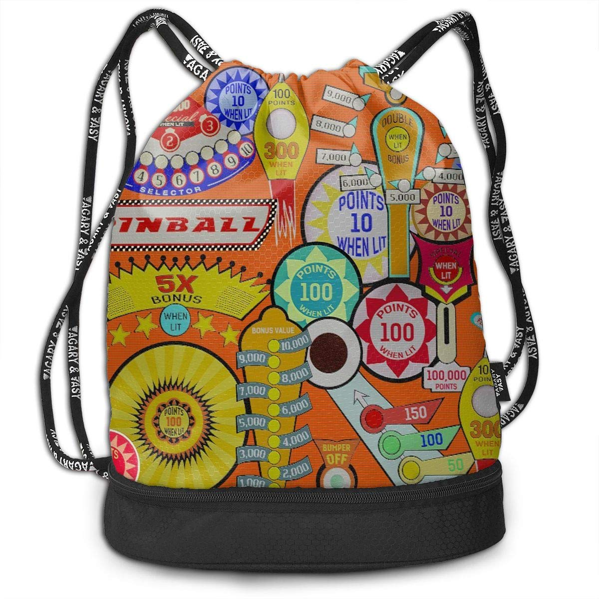 Cinch Backpack Sackpack Tote Sack with Wet /& Dry Compartments for Travel Hiking Gym Zol1Q Pinball Drawstring Bag for Men /& Women