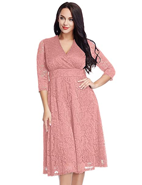 a65cf92bbd9f Mokor Art Women s Plus Size Lace Bridal Formal Skater Dress 12W-32W Pink 22  Plus