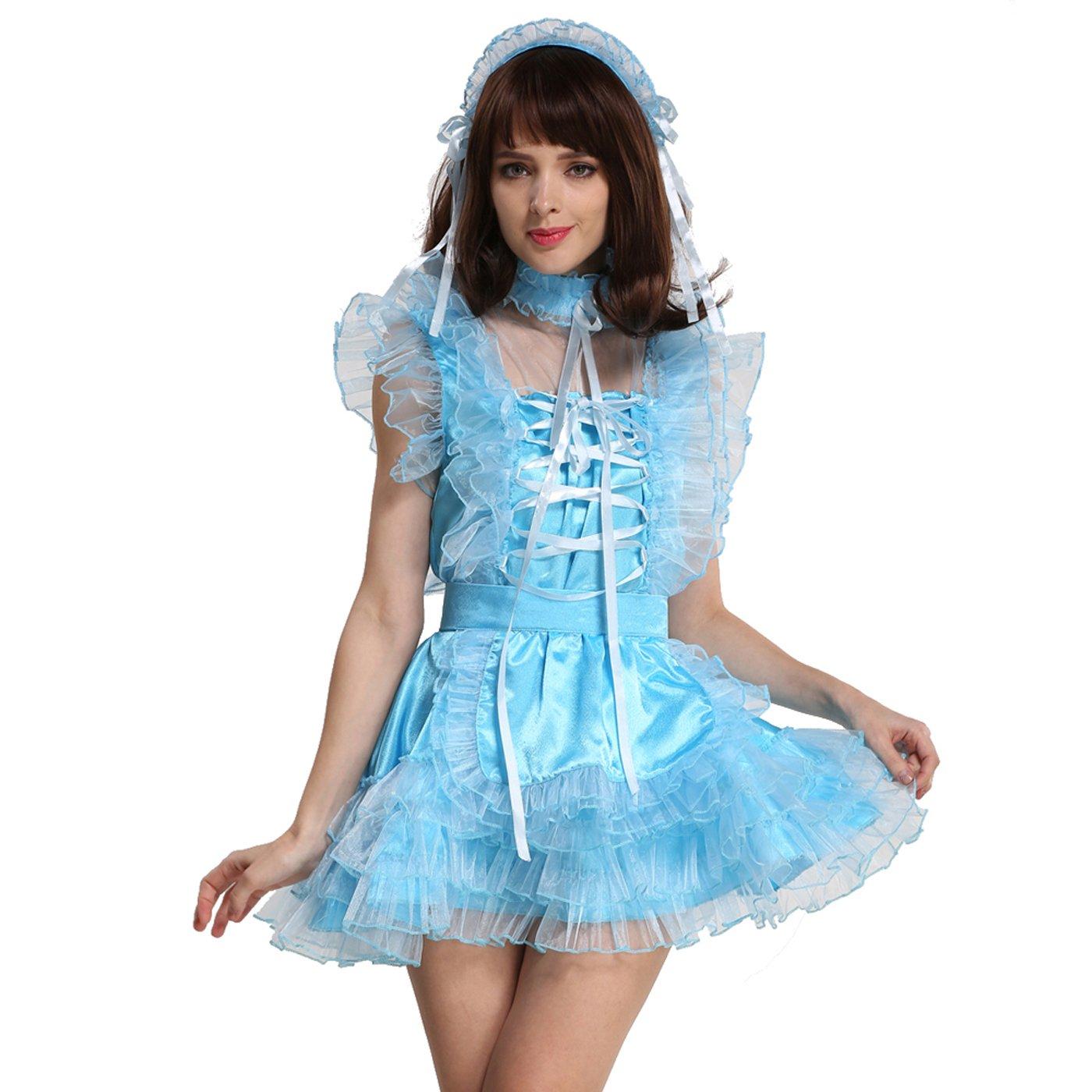Amazon.com: Gocebaby Lockable Sissy Maid Satin Organza Light Blue ...