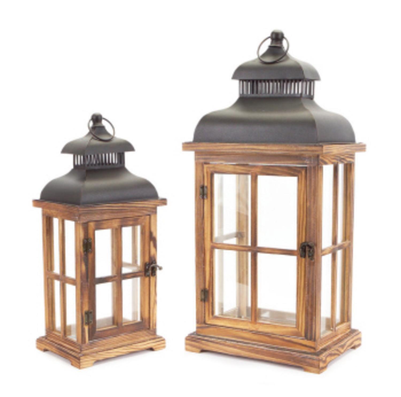 Set of 2 Vintage Natural and Black Distressed Pillar Candle Lanterns 23''