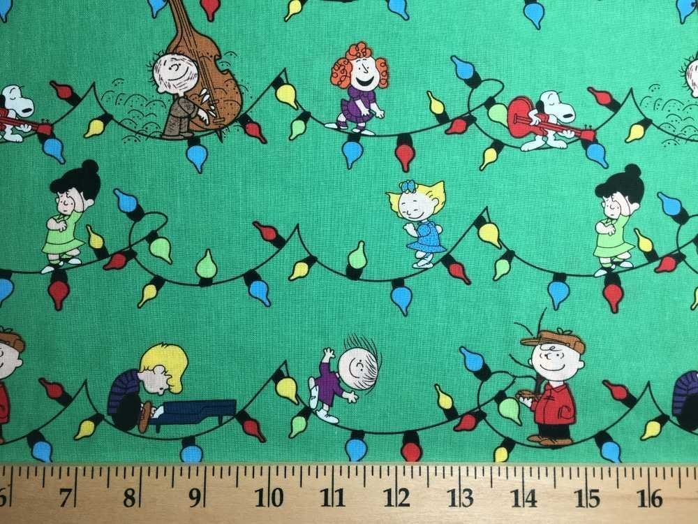 Christmas Handcrafted Valance Sewn From Peanuts Charlie Brown Green Fabric