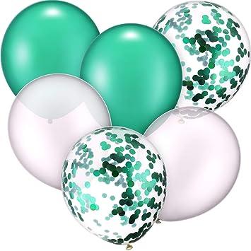 30 Piezas 12 Pulgadas de Globos de Látex Globos con Confeti para Decoración de Fiesta de Boda Cumpleaños (Blanco y Verde)
