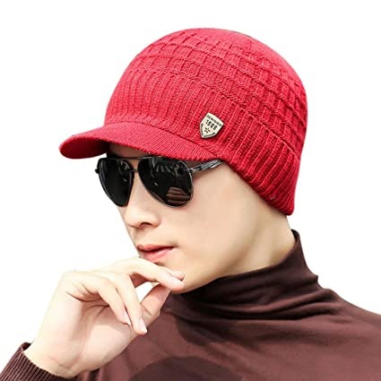 b99fdc8170cb ❤️Amlaiworld Sombrero de Punto de Lana de Invierno de Hombres Caliente  Gorro de Gorro de esquí Gorros Navidad Buff
