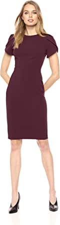 Calvin Klein Women's Tulip Sleeved Seamed Sheath, Ultramarine, 2