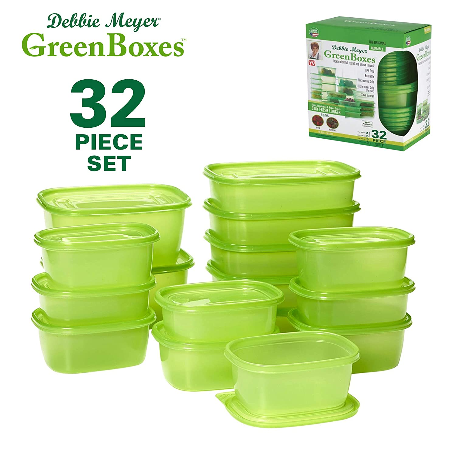 Debbie Meyer GreenBoxes, Foodsaver Storage Containers with Lids, Keep Fruits, Vegetables, Baked Goods & Snacks Fresher Longer! BPA Free, Microwave & Dishwasher Safe- 32 Piece Set